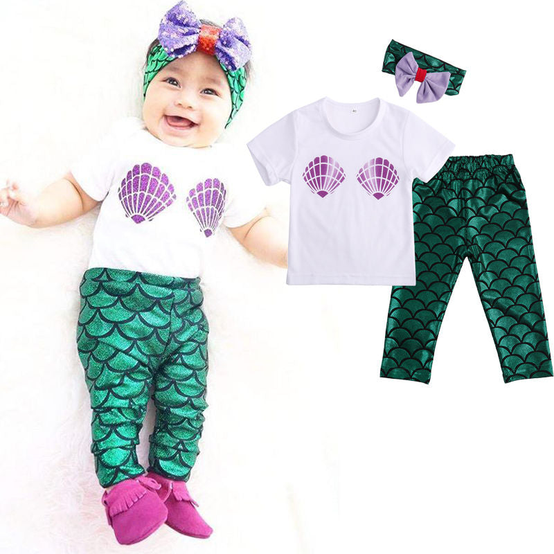 Ariel the little mermaid cosplay costume with headband kids for baby girl boys fancy green clothing set for kids girls boys-eosegal