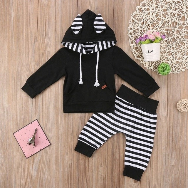 2017 Brand New 2PCS Newborn Toddler Infant Kid Gift Baby Boy Girl Clothes Little Ear Hoodie T-shirt Top+Pants Striped Outfit Set-eosegal