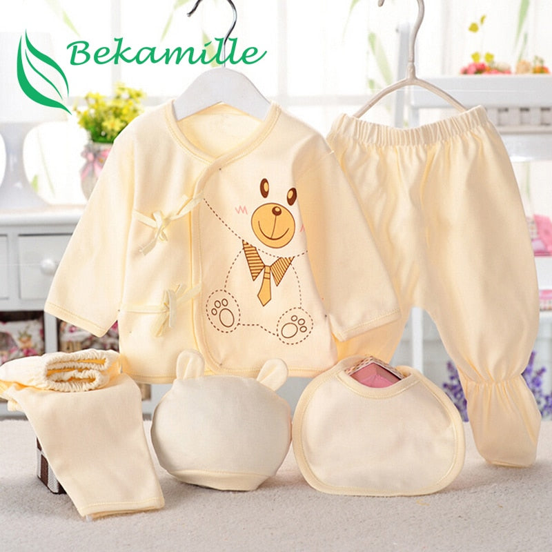 (5pcs/set) Infant clothes 0-3M newborn baby suits bear cartoon sets lace-up kids Summer boys girls suit Bekamille-eosegal
