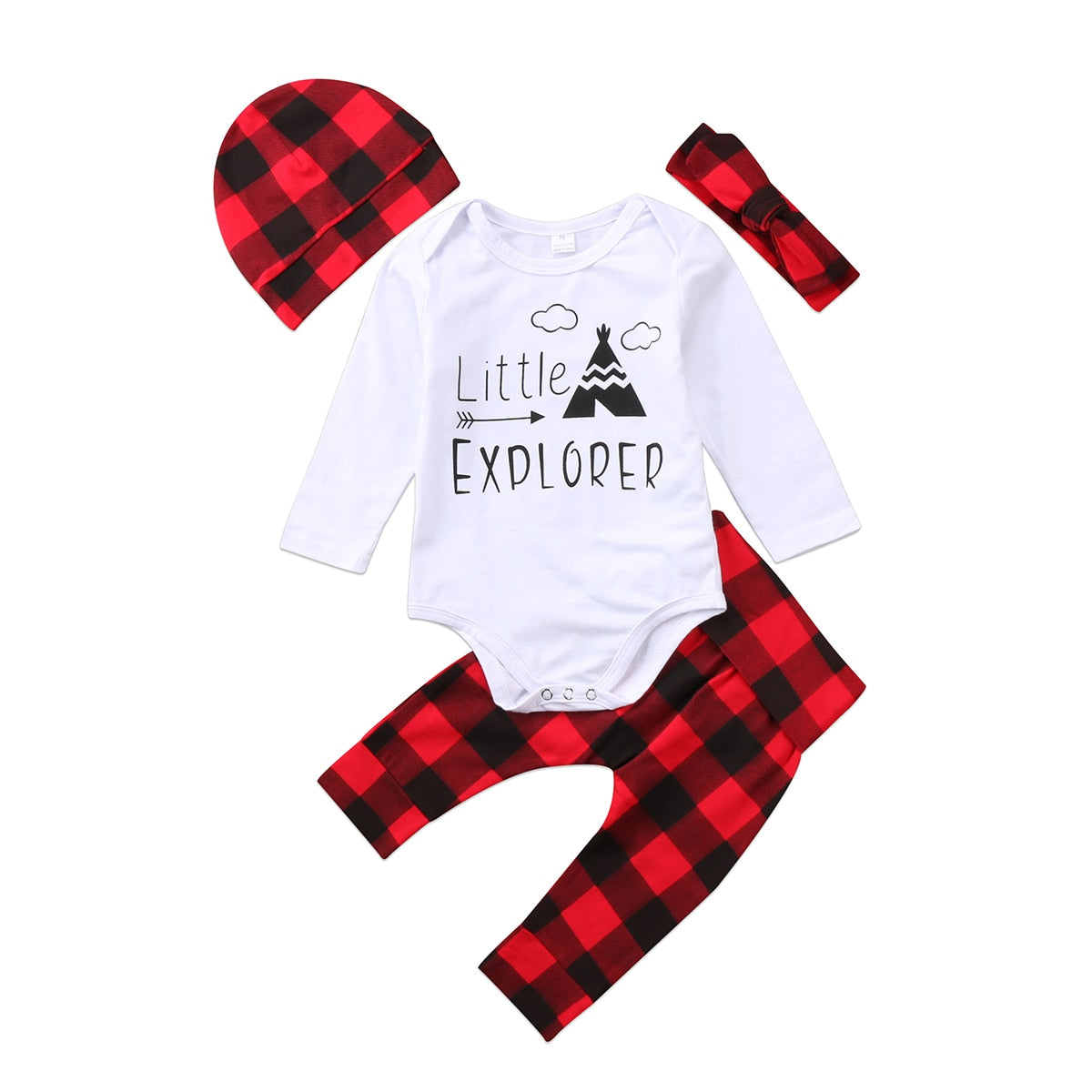 4PCS Newborn Kids Baby Boys Girls Romper Plaid Pants Hat Headband Outfits Set Clothes-eosegal