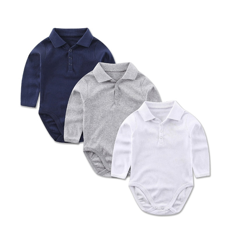 Cotton Long Sleeve Bodysuits For Newborns Baby Boy Clothes Turndown Shirt Collar Kids Jumpsuit Infant Clothing-eosegal