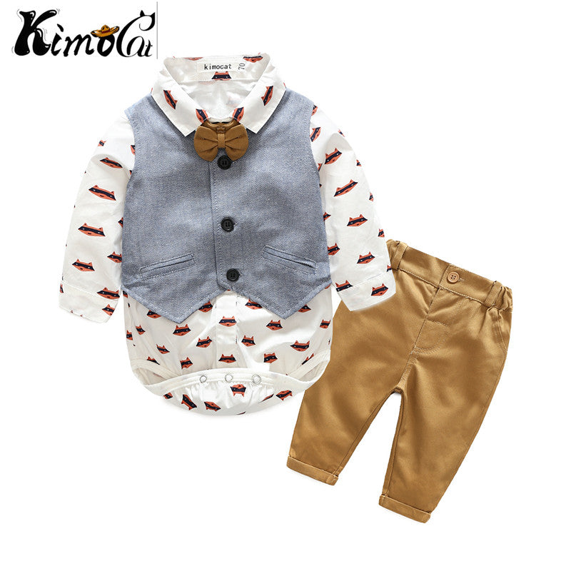 Kimocat new baby boy cartoon suit of baby and child gentleman's vest shirt three pieces of suit-eosegal