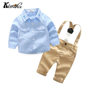 Kimocat Young baby spring fall new suit boy gentleman long sleeve star collared shirt with two pieces of trousers-eosegal