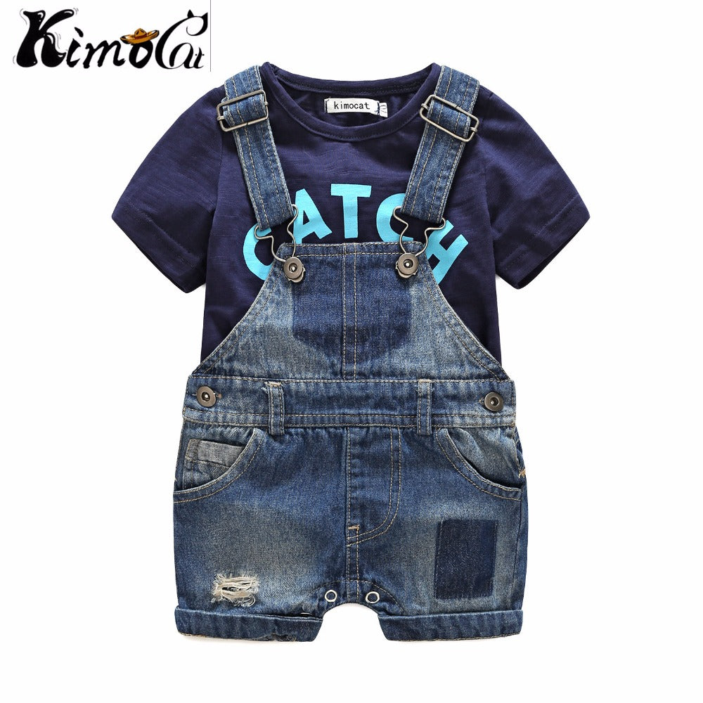 Kimocat Baby boy clothes baby born Summer short-sleeved letters t-shirts boy sets Denim suspenders baby clothes-eosegal
