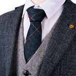 "Checked Herringbone Tweed Navy Blue Brown Camel Gray Grey 2.76"" Wool Men'seosegal-eosegal"