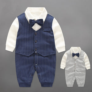 Baby Boy Rompers Cotton Bow Tie Gentleman Party Clothing Spring Toddler Prince Costume Infant Jumpsuits Newborn Boys Clothes-eosegal