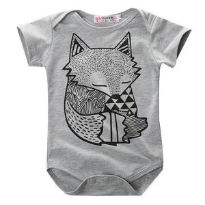 summer style baby boy romper newborn baby clothes Cute Fox Printed new born baby girl clothing children toddlers rompers-eosegal
