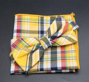 Bowtie Handkerchief Set Cotton Bow Tie Party Accessories Gift Mens Necktie Meneosegal-eosegal