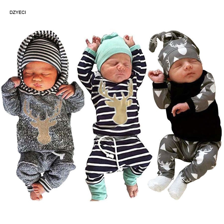 My First Christmas For Babies Boy Set Clothes New Year Born Striped Deer T-shirt+Pant+Hat Outfit Suit Coming Home Kid Costume-eosegal
