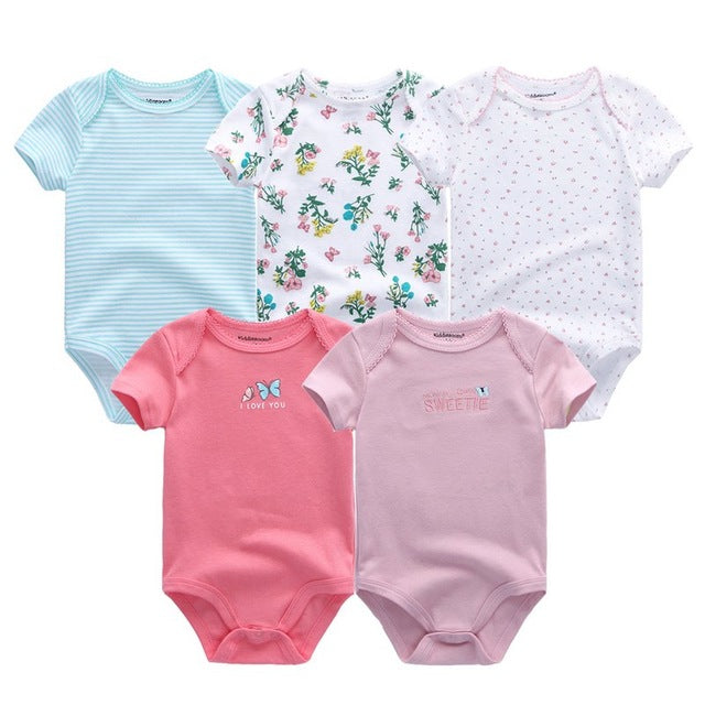 5PCS/LOT Unisex Top Quality Baby Rompers Short Sleeve Cottom O-Neck 0-12M Novel Newborn Boys&Girls Roupas de bebe Baby Clothes-eosegal