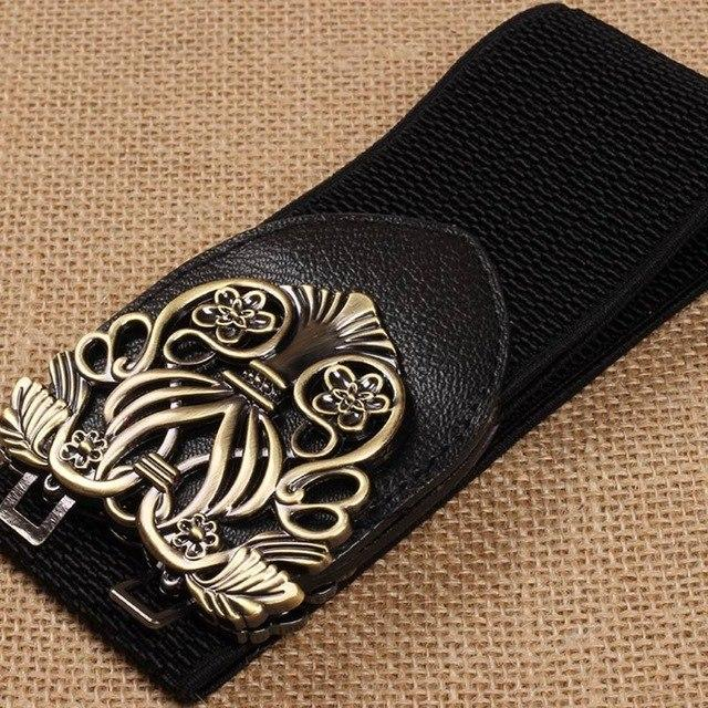 2017 Women Belt Waistband Alloy Flower PU Leather Belt Head Elastic Vintage Strap with Automatic Buckle JL-eosegal