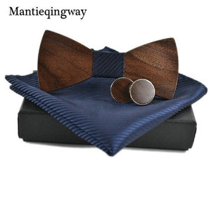 Personality Wood Bow Ties Hanky Set for Mens Wedding Suits Businesseosegal-eosegal