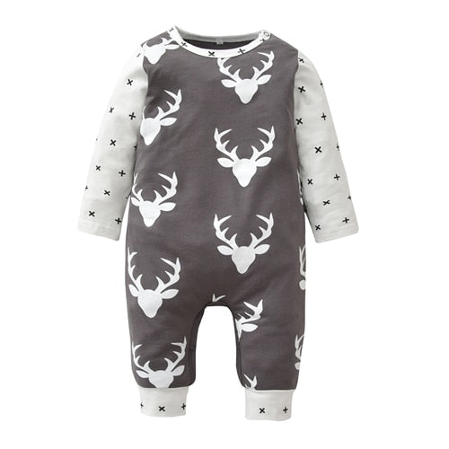 Christmas Baby Romper Newborn Baby Boy Girl Clothes Deer Printing and Cross Patchwork Long Sleeve Jumpsuit Cute Infant Clothing-eosegal