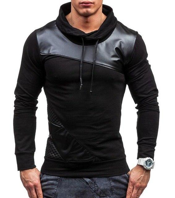 2017 Spring Autumn Fashion Solid PU Splicing Casual Male Streetwear Long Sleeveeosegal-eosegal