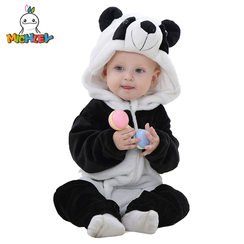 MICHLEY Spring Autumn Baby Clothes Flannel Baby Boys Clothes Cartoon Animal Jumpsuits Infant Girl Rompers Baby Clothing XYZ15088-eosegal