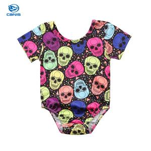 2018 Brand New Newborn Toddler Infant Baby Girl Boy Skull Short Sleeve Bodysuit Jumpsuit Colorful Clothes Casual Outfit 0-18M-eosegal