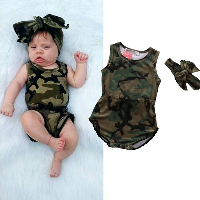 2017 New Camouflage Boys Girls Newborn Bodysuit Cotton Bodysuit Baby Short Sleeve Comfortable Baby Body New Baby wear-eosegal