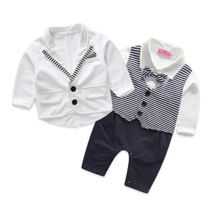 Voguish Boutiqu newborn clothing set bebes baby boy clothes baby rompers+ coat with tie-eosegal