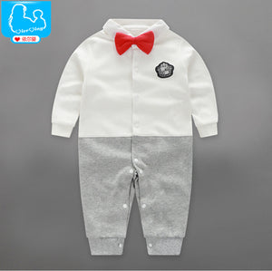 Handsome Baby Rompers 2018 Newborn 0-18M Gentleman Clothing Set Infant Bow Tie Costume Cotton Baby Jumpsuit Baby Boy Clothes-eosegal