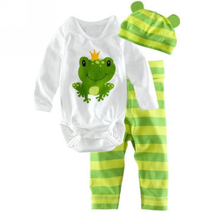 Autumn Winter Cute Newborn Baby Boys Girls Clothes Cotton Tops Long Sleeve Romper Pants Hat Outfits Set 3pcs Baby Clothing Set-eosegal
