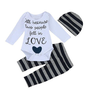 2018 Autumn Newborn Infant Baby Boys Clothes Letter Romper long sleeve Tops+Striped Pants Cap Outfits Set Children costumes-eosegal