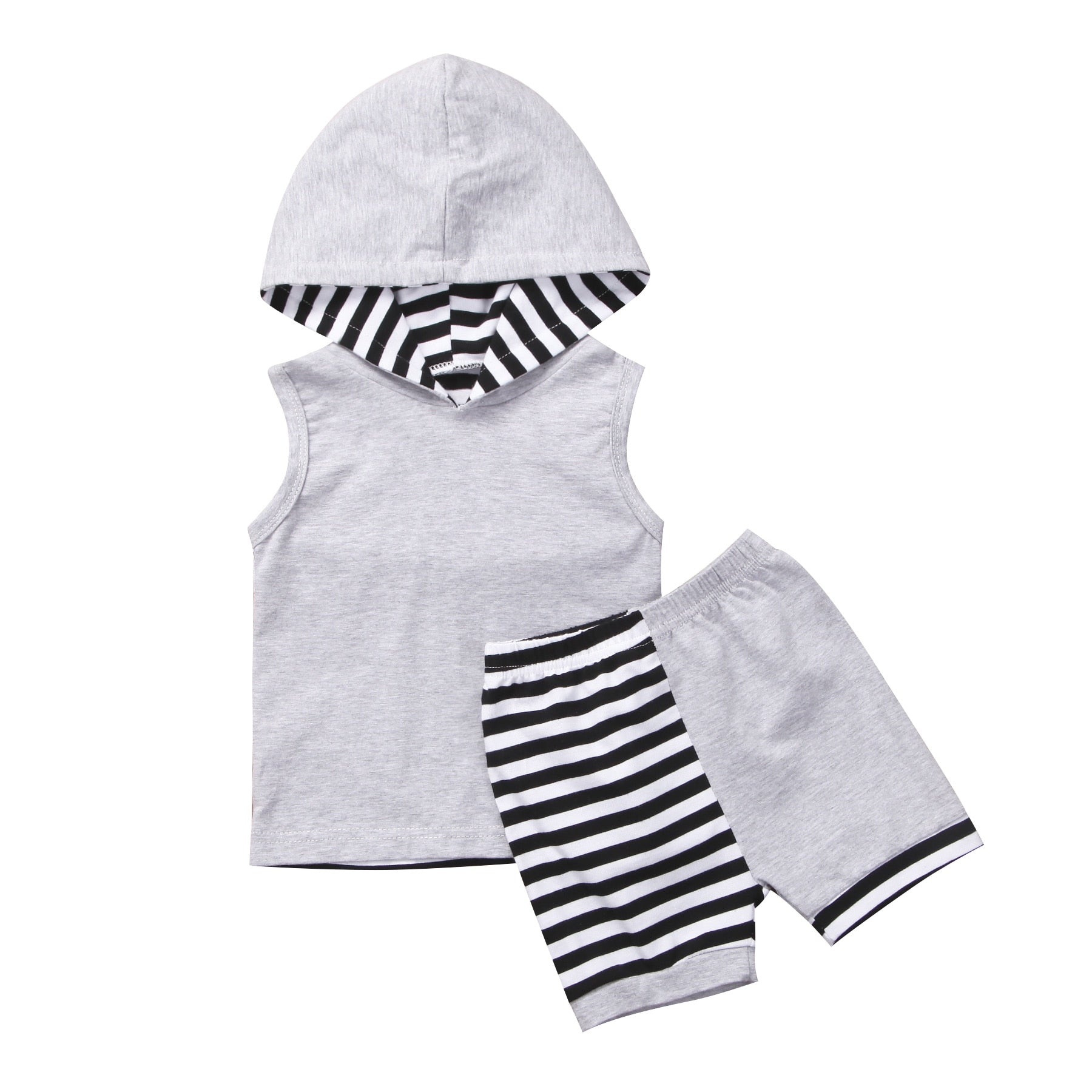 Newborn Infant Baby Boy Cotton Gray Striped Patchwork Clothes Hoodie Top +Short Pant Outfit-eosegal
