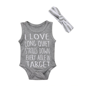2017 Newborn Baby Boys Girls Sleeveless Infant Gray Jumpsuit Playsuit Letters Bodysuit Clothes Casual Outfits-eosegal