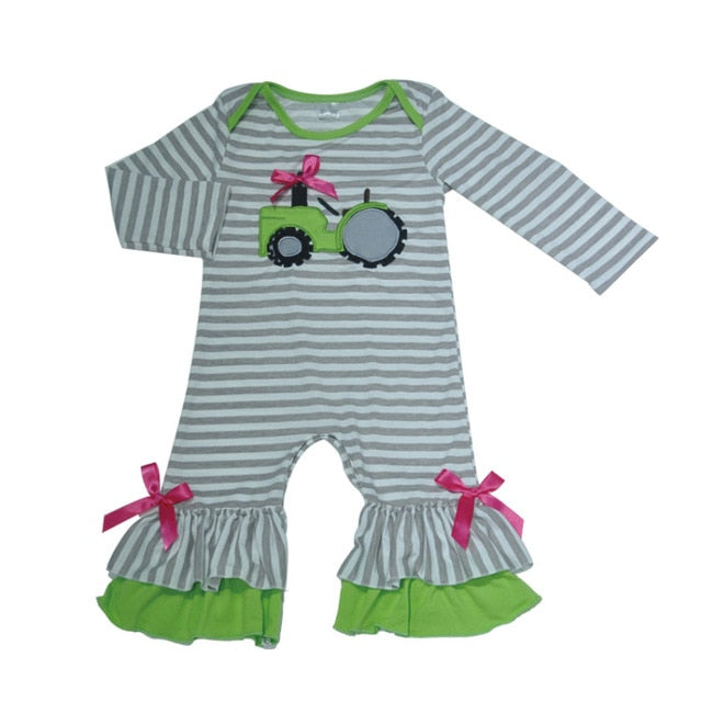 New Fashion Baby Romper Girls Boutique Clothes Newborn Tractor Embroidery Gray Stripped Boy Rompers Spring Clothes-eosegal