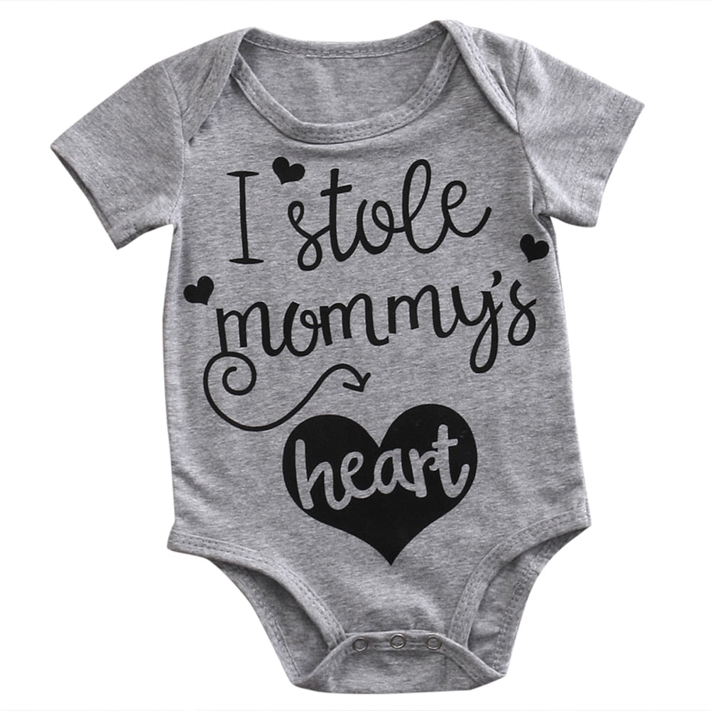 2018 Infant Newborn Baby Boys Girl Romper Short Sleeves Heart Jumpsuit Bodysuit Clothes Outfits 0-24M SS-eosegal