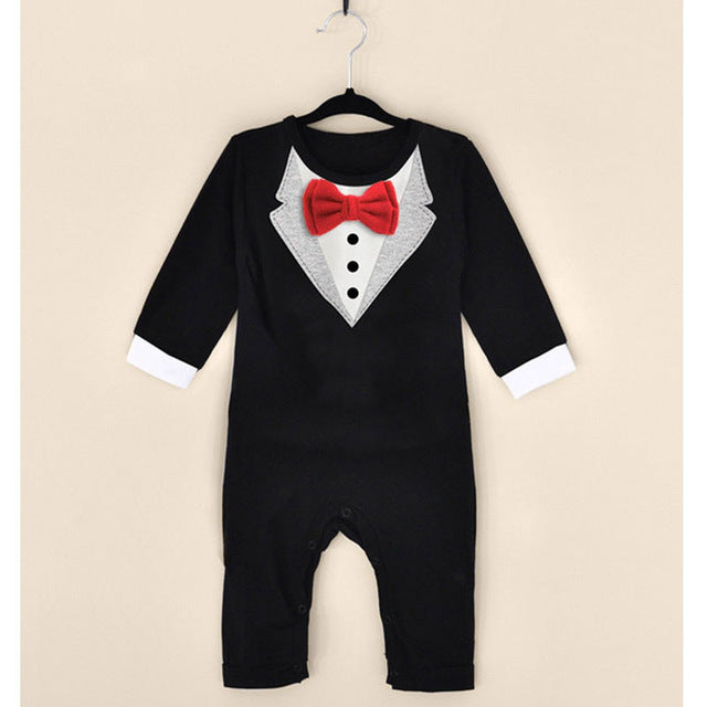 Fashion Baby Boys Clothes Romper Newborn Baby Clothing Kids Suit Formal Wedding Cloth Outerwear Gentleman Romper 2017 Spring-eosegal
