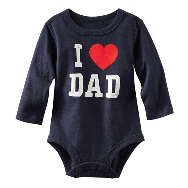 I Love MOM/DAD Printed Infant Toddler Baby Girl Boy Romper Jumpsuit Clothes Shirt-eosegal