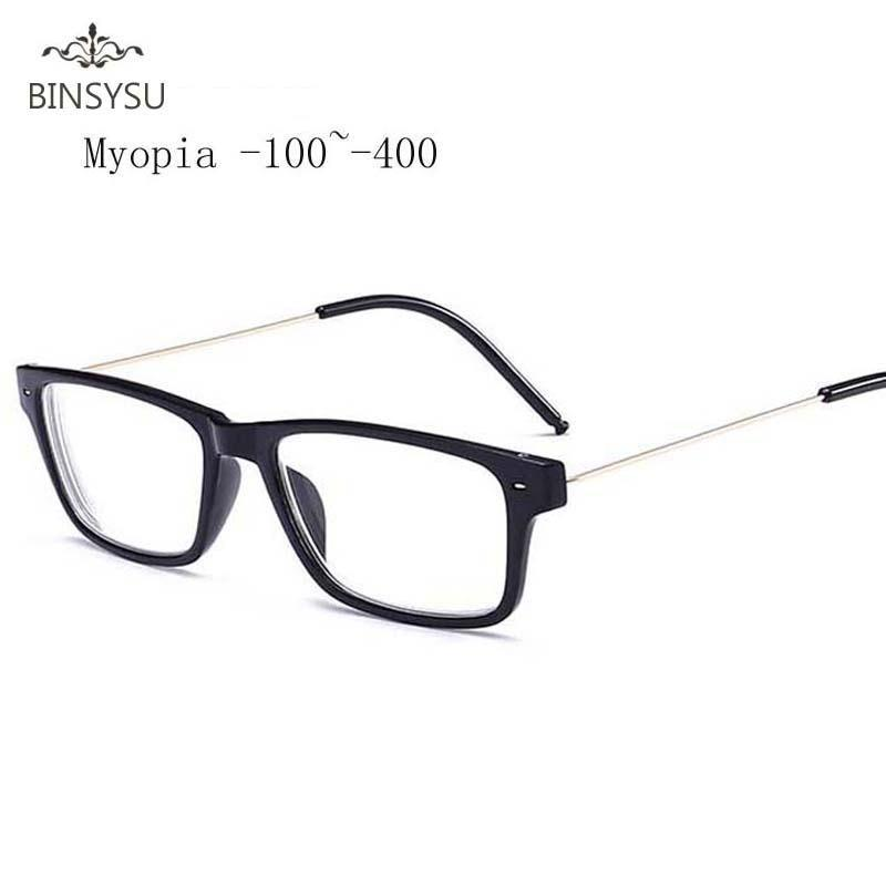 Finished Myopia Glasses Men Square Steel Wire Frame Legs Clear Lens Sightedeosegal-eosegal