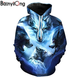 Wolf Hoodies 3D Men Women Sweatshirts Fashion Autumn Tracksuits Harajuku Outweareosegal-eosegal
