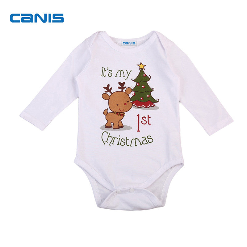 Newborn White Baby Girls Boy Clothing My 1st Christmas Xmas Costume Long Sleeve Autumn Bodysuit Jumpsuit Outfit Clothes 0-24M-eosegal
