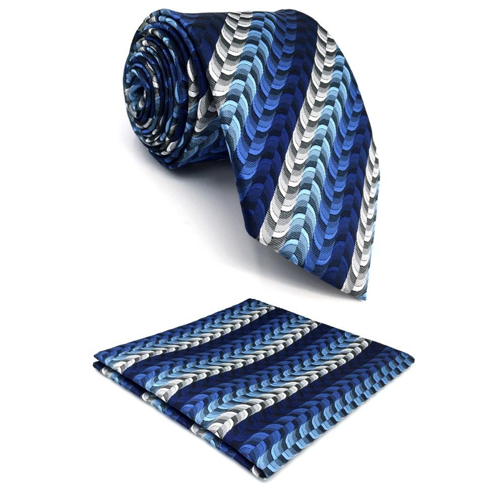 "D23 Blue Ripple Men Neckties Silk Fashion Novelty Extra long size 63""eosegal-eosegal"