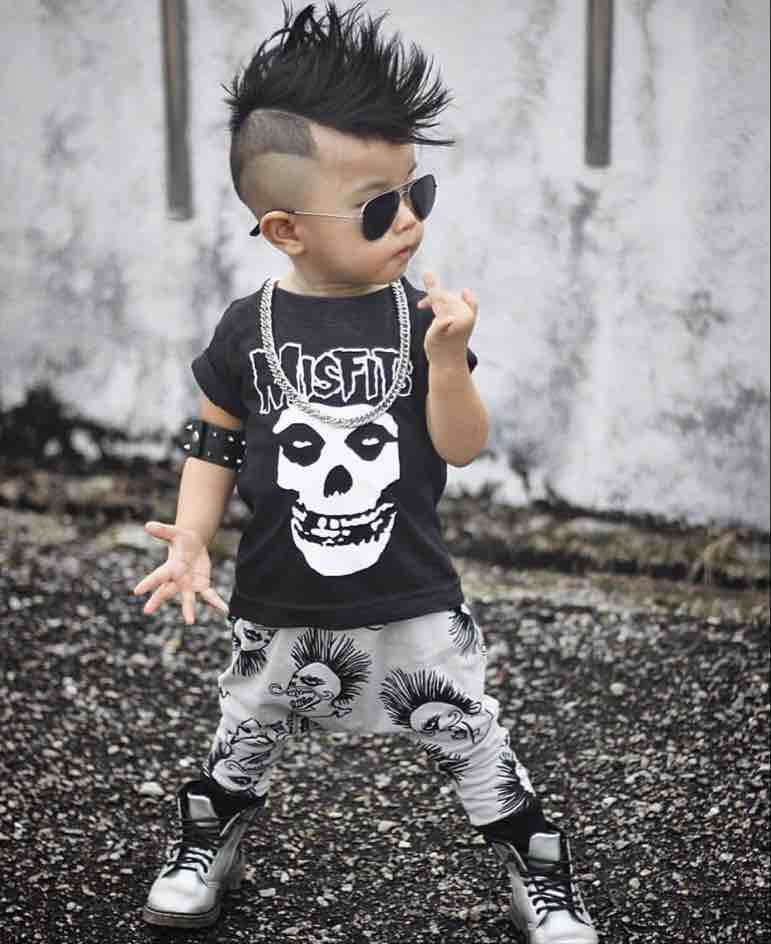 New 2018 Summer Baby Boy Clothing Sets Newborn Misfits Prints Short Sleeve T-shirt+Pants Baby Boys Clothes Toddler Outfits-eosegal