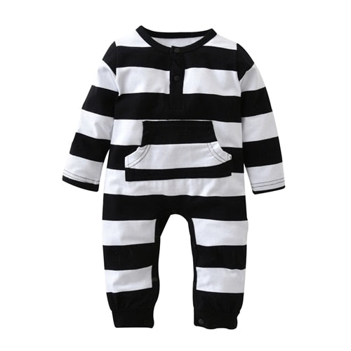 2018 New Fashion Cute Striped Baby Boys Girls Rompers One Piece Long Sleeve Jumpsuits Cotton Newborn Clothes Infant Costume-eosegal