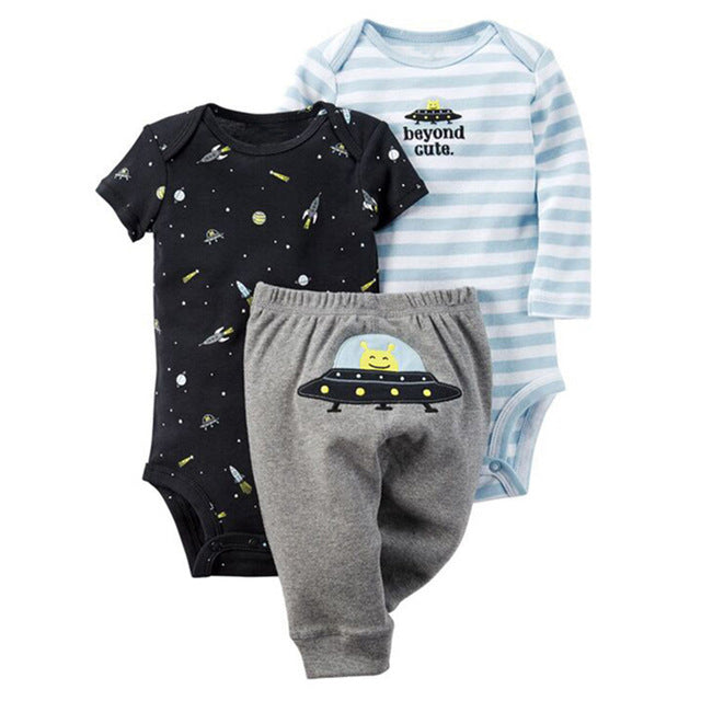 Newborn Clothes sets 3 Piece Baby Boy Clothes Baby Girl Clothing set 100% Cotton New bodysuits pajamas + Infant Pants-eosegal