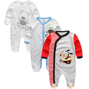 Autumn Unisex Newborn Toddler Infant Costumes 3 6 9 12M Pajamas Baby Clothes Cartoon Printed Girl Boy Cotton Romper Clothing Set-eosegal