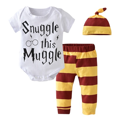 3 Pcs/Set 2018 Summer Newborn Toddler Baby Boy Clothes Cotton Short sleeve Letter Baby Rompers+Pants+Hat Infant Clothing Set-eosegal