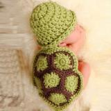 Green Turtle Baby Hat with Cape Set Children Photography Props Newborn Baby Crochet Animal Beanie Costume Set-eosegal