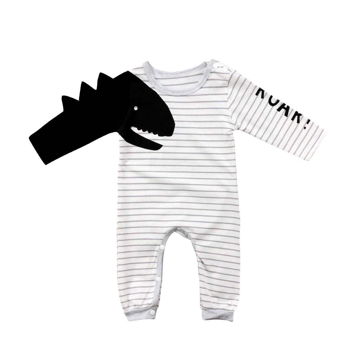 Newborn Baby Boy Girls 3D Dinosaur Romper Long Sleeve Striped Jumpsuit Outfits Set Clothes-eosegal