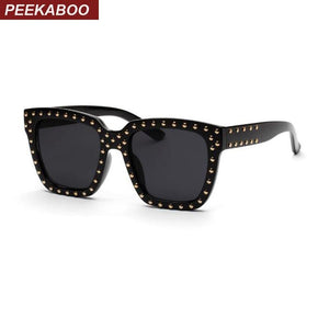 Peekaboo black square frame glasses men clear lens rivet shade women sunglasseseosegal-eosegal