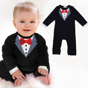 New Fashion Baby Boy Gentleman Suit Clothes Baby Boy Cotton Jumpsuit Rompers Newborn Crawling Clothing For 6-24 M Infant Boy-eosegal
