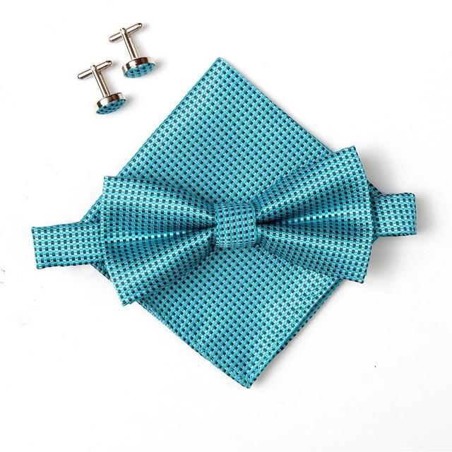 2018 fashion grip bow tie sets for men Handkerchief cufflinks butterfly Pocketeosegal-eosegal