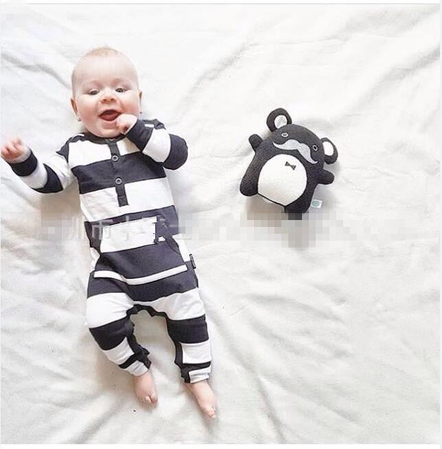 2018 autumn baby boy clothes stripe Fashion Long sleeve baby rompers newborn clothes Infant clothing jumpsuit baby clothing set-eosegal