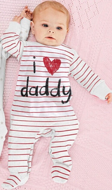 2018 new style Baby Rompers boy & girl Cotton Long Sleeve Newborn clothes Letter I Love mummy & Daddy jumpsuit Baby clothes-eosegal