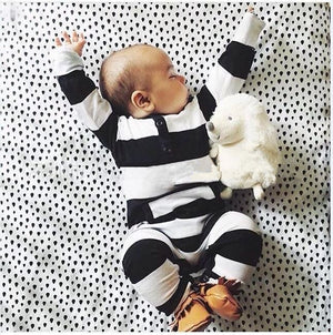 2018 new style baby clothing baby boy clothes cute stripe Long sleeve baby Romper climbing newborn clothes infant clothing set-eosegal