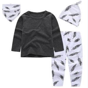 2018 summer baby boy clothes short & Long sleeve T shirt+pants+hat+Bibs 4pcs suit newborn clothes baby girl clothing set infant-eosegal