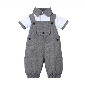 2018 new Arrival Baby boy clothing set Gentleman newborn clothes set for boys high quality cotton T-shirt + Overalls baby suit-eosegal